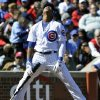 Photo -   Chicago Cubs' Starlin Castro reacts after swing at a pitch in the dirt against the St. Louis Cardinals during the fourth inning of a baseball game Saturday, Sept. 22, 2012, in Chicago. (AP Photo/Jim Prisching)