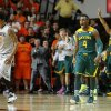 Baylor\'s Gary Franklin (4) reacts beside Oklahoma State\'s Le\'Bryan Nash (2) after making a three-point basket late in an NCAA college basketball game between Oklahoma State University (OSU) and Baylor at Gallagher-Iba Arena in Stillwater, Okla., Saturday, Feb. 1, 2014. Baylor won 76-70. Photo by Bryan Terry, The Oklahoman