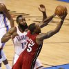 Miami\'s Mario Chalmers (15) goes past Oklahoma City\'s James Harden (13) goes past during Game 1 of the NBA Finals between the Oklahoma City Thunder and the Miami Heat at Chesapeake Energy Arena in Oklahoma City, Tuesday, June 12, 2012. Photo by Nate Billings, The Oklahoman