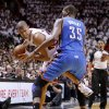 Oklahoma City\'s Kevin Durant (35) defends Miami\'s Shane Battier (31) during Game 4 of the NBA Finals between the Oklahoma City Thunder and the Miami Heat at American Airlines Arena, Tuesday, June 19, 2012. Photo by Bryan Terry, The Oklahoman