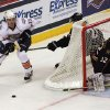 OKC\'s Ryan O\'Marra (18) skates around the defending goal during a game between the Oklahoma City Barons and the Texas Stars at the Cox Convention Center in Oklahoma City, Saturday, Oct. 15, 2011. Photo by Garett Fisbeck, The Oklahoman ORG XMIT: KOD