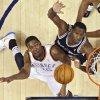 The Thunder\'s Kevin Durant puts up a shot past the Spurs\' Antonio McDyess (34) during the NBA basketball game between the Oklahoma City Thunder and the San Antonio Spurs at the Ford Center on Monday, March 22, 2010, in Oklahoma City, Okla. Photo by Chris Landsberger, The Oklahoman