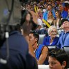 Photo - Dale and Lois Higgins prepare to appear on the Kiss Cam during a timeout in the April 11 game between the Oklahoma City Thunder and the New Orleans Pelicans at Chesapeake Energy Arena in Oklahoma City.  Photo by Bryan Terry,  The Oklahoman <strong>BRYAN TERRY -   </strong>