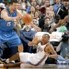 Oklahoma City\'s Russell Westbrook passes the ball between Hedo Turkoglu, left, and Anthony Johnson of Orlando during the NBA basketball game between the Oklahoma City Thunder and the Orlando Magic at the Ford Center in Oklahoma City, Wednesday, Nov. 12, 2008. BY BRYAN TERRY, THE OKLAHOMAN ORG XMIT: KOD