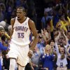Oklahoma City\'s Kevin Durant (35) celebrates during NBA basketball game between the Oklahoma City Thunder and the New York Knicks at the Chesapeake Energy Arena, Sunday, April 7, 2013, in Oklahoma City. Photo by Sarah Phipps, The Oklahoman