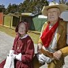 Mary Jo and J.W. Parker are pictured in the newly remodeled frontier town at the Chisholm Trail Roundup on Wednesday, April 12, 2006, in Yukon, Okla. The City of Yukon and Chisholm Trail Preservation Society helped to reconstruct the site for the upcoming Chisholm Trail Festival on April 29 and 30. The Parkers helped to open the site in 1988. staff photo by CHRIS LANDSBERGER/THE OKLAHOMAN