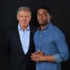 In this Saturday, March 23, 2013 photo, Harrison Ford, left, and Chadwick Boseman, cast members in the film