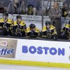 Boston Bruins head coach Claude Julien, top right, and members of the Bruins team react from the bench as they fall behind in the third period of an NHL hockey game against the Ottawa Senators at the TD Garden, in Boston, Sunday, April 28, 2013. The Senators beat the Bruins 4-2. (AP Photo/Steven Senne)