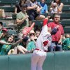Photo - OKLAHOMA CITY REDHAWKS / MINOR LEAGUE BASEBALL / KIDS DAY / CHILD / CHILDREN: OKC's Brandon Laird catches a foul ball over the stands during the RedHawks' game against the Salt Lake Bees at the Chickasaw Bricktown Ballpark in Oklahoma City, OK, Tuesday, May 14, 2013,  By Paul Hellstern, The Oklahoman