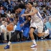 during the NBA basketball game between Dallas\' Jae Crowder (9) drives against Oklahoma City\'s Jeremy Lamb (11) the Oklahoma City Thunder and the Dallas Mavericks at Chesapeake Energy Arena in Oklahoma City, Okla. on Wednesday, Nov. 6, 2013. Photo by Chris Landsberger, The Oklahoman