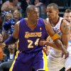 L.A. LAKERS: Oklahoma City\'s Thabo Sefolosha (2) guards Lakers\' Kobe Bryant (24) during the NBA basketball game between the Oklahoma City Thunder and the Los Angeles Lakers, Sunday, Feb. 27, 2011, at the Oklahoma City Arena. Photo by Sarah Phipps, The Oklahoman ORG XMIT: KOD