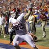 REACTION: Oklahoma Sooners tight end Brannon Green (82) reacts after scoring a touchdown during the college football game between the University of Oklahoma Sooners (OU) and the University of Texas El Paso Miners (UTEP) at Sun Bowl Stadium on Sunday, Sept. 2, 2012, in El Paso, Texas. Photo by Chris Landsberger, The Oklahoman