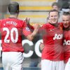 Manchester United\'s Tom Cleverley, second right, celebrates his goal with his teammates during their English Premier League soccer match against Newcastle United at the Sports Direct Arena, Newcastle, England, Sunday, Oct. 7, 2012. (AP Photo/Scott Heppell)