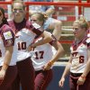 Virginia Tech players leave the dugout after their loss in the Women\'s College World Series game between Florida and Virginia Tech at ASA Hall of Fame Stadium in Oklahoma City, Saturday, May 31, 2008. BY BRYAN TERRY, THE OKLAHOMAN