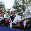 Photo - Europe's Sergio Garcia, left to right, Luke Donald and  Justin Rose celebrate after winning the Ryder Cup PGA golf tournament Sunday, Sept. 30, 2012, at the Medinah Country Club in Medinah, Ill. (AP Photo/Chris Carlson)  ORG XMIT: PGA243