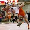 Oklahoma\'s Cody Brewer takes on Oklahoma State\'s Jon Morrison at 133 pounds during the 2014 Big 12 Wrestling Championship finals at the University of Oklahoma in McCasland Field House on March 8, 2014 in Norman, Okla. Photo by Steve Sisney, The Oklahoman