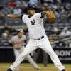 New York Yankees starting pitcher Ivan Nova delivers against the Baltimore Orioles in the first inning during their baseball game at Yankee Stadium in New York, Wednesday, May 2, 2012. (AP Photo/Kathy Willens)