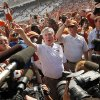 "Texas head coach Mack Brown, middle, sings ""The Eyes of Texas"" with his team after the Red River Rivalry college football game between the University of Oklahoma Sooners and the University of Texas Longhorns at the Cotton Bowl Stadium in Dallas, Saturday, Oct. 12, 2013. UT won, 36-20. Photo by Nate Billings, The Oklahoman"