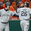 South Carolina\'s Joey Pankake, left, congratulates Graham Saiko after Saiko scored a run in an NCAA college baseball game against Clemson, Friday, March 1, 2013, in Clemson, S.C. (AP Photo/Anderson Independent-Mail, Mark Crammer) GREENVILLE NEWS OUT, SENECA NEWS OUT
