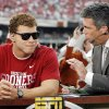 Former OU basketball player Blake Griffin, left, speaks with Chris Fowler during a segment on ESPN\'s College Gameday before the Red River Rivalry college football game between the University of Oklahoma Sooners (OU) and the University of Texas Longhorns (UT) at the Cotton Bowl in Dallas, Saturday, Oct. 8, 2011. Photo by Nate Billings, The Oklahoman