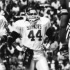 COLLEGE FOOTBALL / UNIVERSITY OF OKLAHOMA: OU linebacker Brian Bosworth stands on the floor of the Cotton Bowl during a break between plays when OU faced the Texas Longhorns in Dallas, TX, on Saturday, 10/12/85. The Sooners prevailed on this day by a 14-7 score. Staff photo by George R. Wilson taken 10/12/85.