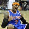 New York Knicks\' Carmelo Anthony reacts to being fouled during the first half of an NBA basketball game against the San Antonio Spurs, Thursday, Nov. 15, 2012, in San Antonio. (AP Photo/Darren Abate)