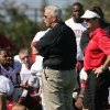 Photo - BCS NATIONAL CHAMPIONSHIP GAME / BOWL GAME / BOWL CHAMPIONSHIP SERIES: Bill Parcells, center, Miami Dolphins executive vice president of football operations, gives a pep talk to University of Oklahoma players as head coach Bob Stoops, right, looks on during football practice Barry University in Miami, Saturday Jan. 3, 2009. OU plays Florida in the BCS Championship NCAA college football game on Thursday, Jan. 8. (AP Photo/Jeffrey M. Boan) ORG XMIT: FLJB102