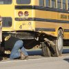 Photo - Chickasha School bus that was hit by a pickup truck on State Highway 62 east of Chickasha, Monday, October 15, 2012. T Photo By David McDaniel/The Oklahoman