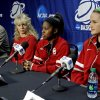 University of Oklahoma (OU) women\'s basketball head coach Sherri Coale and players Aaryn Ellenberg and Whitney Hand answer questions during the press conference before their pratice for the first round of the NCAA Women\'s Basketball Championship Tournament at the Lloyd Noble Center on Saturday, March 17, 2012, in Norman, Okla. At left is Mike Houck. Photo by Steve Sisney, The Oklahoman