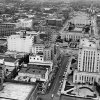 OKLAHOMA CITY / SKY LINE / OKLAHOMA / AERIAL VIEWS / AERIAL PHOTOGRAPHY / AIR VIEWS: No caption. Staff photo by A. Y. Owen. Photo dated 01/02/1949 and unpublished. Photo arrived in library on 01/20/1949.