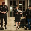 Army Brig. Gen. Jeffrey A. Sinclair, left, leaves a Fort Bragg, N.C. courthouse with his defense team, Maj. Elizabeth Ramsey, center, and Maj. Sean Foster, Tuesday, Jan. 22, 2013, after he deferred entering a plea at his arraignment on charges of fraud, forcible sodomy, coercion and inappropriate relationships. Sinclair, who served five combat tours, is headed to trial following a spate of highly publicized military sex scandals involving high-ranking officers that has triggered a review of ethics training across the service branches. (AP Photo/The Fayetteville Observer, Andrew Craft) MAGS OUT, NO SALES