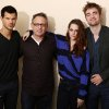 In this Thursday, Nov. 1, 2012 photo, from left, actor Taylor Lautner, director Bill Condon, actress Kristen Stewart, and actor Robert Pattinson, from the upcoming film