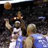 Miami\'s LeBron James (6) passes the ball over Oklahoma City\'s James Harden (13) during Game 3 of the NBA Finals between the Oklahoma City Thunder and the Miami Heat at American Airlines Arena, Sunday, June 17, 2012. Photo by Bryan Terry, The Oklahoman