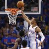 Oklahoma City\'s Russell Westbrook (0) blocks the shot of Memphis\' Tony Allen (9) during Game 7 in the first round of the NBA playoffs between the Oklahoma City Thunder and the Memphis Grizzlies at Chesapeake Energy Arena in Oklahoma City, Saturday, May 3, 2014. Photo by Nate Billings, The Oklahoman