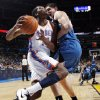 Oklahoma City\'s Kevin Durant (35) is fouled by Darko Milicic (31) of Minnesota during the NBA basketball game between the Minnesota Timberwolves and the Oklahoma City Thunder at the Oklahoma City Arena, Monday, November 22, 2010, in Oklahoma City. The Thunder won, 117-107. Photo by Nate Billings, The Oklahoman