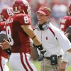 Oklahoma defensive coordinator Brent Venables yells at Ryan Reynolds (8) in the first half during the University of Oklahoma Sooners (OU) college football game against the Utah State University Aggies (USU) at the Gaylord Family -- Oklahoma Memorial Stadium, on Saturday, Sept. 15, 2007, in Norman, Okla. By CHRIS LANDSBERGER, The Oklahoman