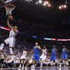 Oklahoma City\'s Russell Westbrook (0) shoots a layup during Game 2 of the first round in the NBA basketball playoffs between the Oklahoma City Thunder and the Dallas Mavericks at Chesapeake Energy Arena in Oklahoma City, Monday, April 30, 2012. Photo by Sarah Phipps, The Oklahoman