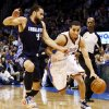 Oklahoma City\'s Kevin Martin (23) drives the ball against Charlotte\'s Jeffery Taylor (44) during an NBA basketball game between the Oklahoma City Thunder and Charlotte Bobcats at Chesapeake Energy Arena in Oklahoma City, Monday, Nov. 26, 2012. Photo by Nate Billings , The Oklahoman