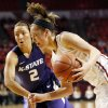 Oklahoma\'s Nicole Kornet (1) drives the ball past Kansas State\'s Brittany Chambers (2) during an NCAA women\'s college basketball game between the University of Oklahoma (OU) and Kansas State at Lloyd Noble Center in Norman, Okla., Wednesday, Feb. 20, 2013. Photo by Nate Billings, The Oklahoman