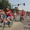 Children ride their red, white, and blue bikes in the annual LibertyFest Fourth of July Parade in downtown Edmond, OK, Thursday, July 4, 2013, Photo by Paul Hellstern, The Oklahoman