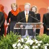 Photo - Oklahoma State University President Burns Hargis announces Friday a campaign to raise $1 billion.  Behind him are, from left, T. Boone Pickens, Ann  Hargis, Billie McKnight and Ross McKnight.  PHOTO BY PAUL HELLSTERN, THE OKLAHOMAN
