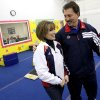 Owner and Olympic coach Steve Nunno talks with Shannon Miller during the grand opening of the new Star Gymnastics facilities in Edmond on Monday, Feb. 23, 2009. By John Clanton, The Oklahoman