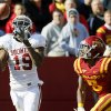Oklahoma\'s Justin Brown (19) catches a touchdown pass in front of Iowa State\'s Jeremy Reeves (5) in the third quarter during a college football game between the University of Oklahoma (OU) and Iowa State University (ISU) at Jack Trice Stadium in Ames, Iowa, Saturday, Nov. 3, 2012. OU won, 35-20. Photo by Nate Billings, The Oklahoman