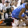Miami\'s Chris Bosh (1) goes for the ball under Oklahoma City\'s Serge Ibaka (9) during Game 4 of the NBA Finals between the Oklahoma City Thunder and the Miami Heat at American Airlines Arena, Tuesday, June 19, 2012. Photo by Bryan Terry, The Oklahoman