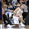 OU's Blake Griffin gets up after a hard foul by Morgan State's Ameer Ali on Thursday. Photo by bryan terry, the oklahoman