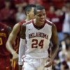 Oklahoma Sooner\'s Buddy Hield (24) reacts to play as the University of Oklahoma Sooners (OU) men defeat the Iowa State Cyclones (ISU) 87-82 in NCAA, college basketball at The Lloyd Noble Center on Saturday, Jan. 11, 2014 in Norman, Okla. Photo by Steve Sisney, The Oklahoman