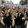 Lebanese girls hold copies of the Quran, the Muslim holy book, as they chant slogans during a protest about a film ridiculing Islam\'s Prophet Muhammad in the eastern city of Baalbek, Lebanon, Friday, Sept. 21, 2012. Tens of thousands of people take part for the latest in a series of protest rallies organized by the Shiite militant group Hezbollah. Anger over insults to Islam\'s Prophet Muhammad isn\'t enough to bring Lebanon\'s divided Sunni and Shiite Muslims together. The two sects, which have been locked in sometimes violent political competition, hold separate protests and even throw gibes. A hardline Sunni cleric accuses Shiite Hezbollah of using the protests to distract from the fighting in neighboring Syria. AP photo