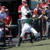Baylor\'s Duncan Wendel (5) catches a pop foul in front of the Sooner dugout as the University of Oklahoma Sooner (OU) baseball team plays the Baylor Bears in college baeball at L. Dale Mitchell Park on May 3, 2014 in Norman, Okla. Photo by Steve Sisney, The Oklahoman