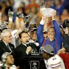 Florida coach Urban Meyer holds the National Championship Trophy after Florida\'s 24-14 win over OU in the BCS National Championship college football game between the University of Oklahoma Sooners (OU) and the University of Florida Gators (UF) on Thursday, Jan. 8, 2009, at Dolphin Stadium in Miami Gardens, Fla. PHOTO BY BRYAN TERRY, THE OKLAHOMAN
