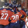 Photo - Florida Panthers' Brad Boyes (24) celebrates with Nick Bjugstad (27) and Sean Bergenheim (20) after scoring a goal in the second period of an NHL hockey game against the Toronto Maple Leafs, Thursday, April 10, 2014, in Sunrise, Fla. (AP Photo/Lynne Sladky)
